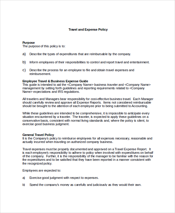 printable word doc travel and expense policy template