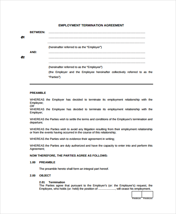 Employment Termination Agreement  Samples And Templates