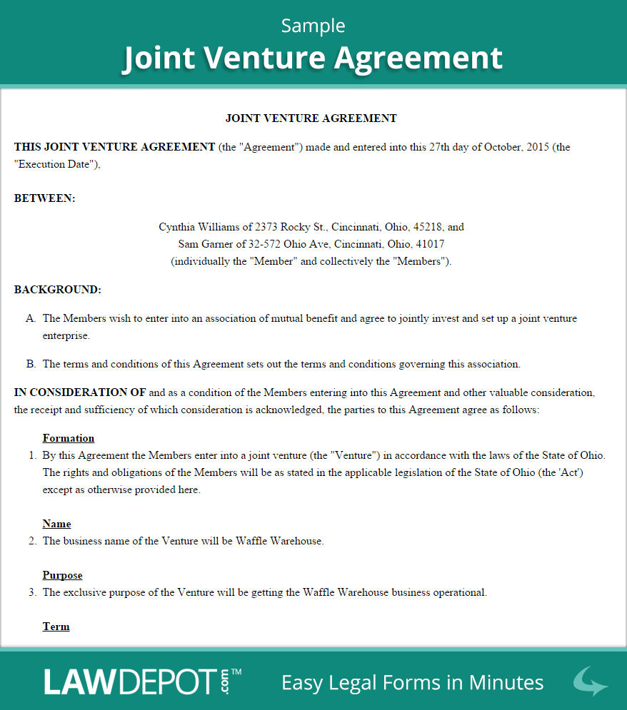 Joint Venture Agreements – Free Joint Venture Agreement Template