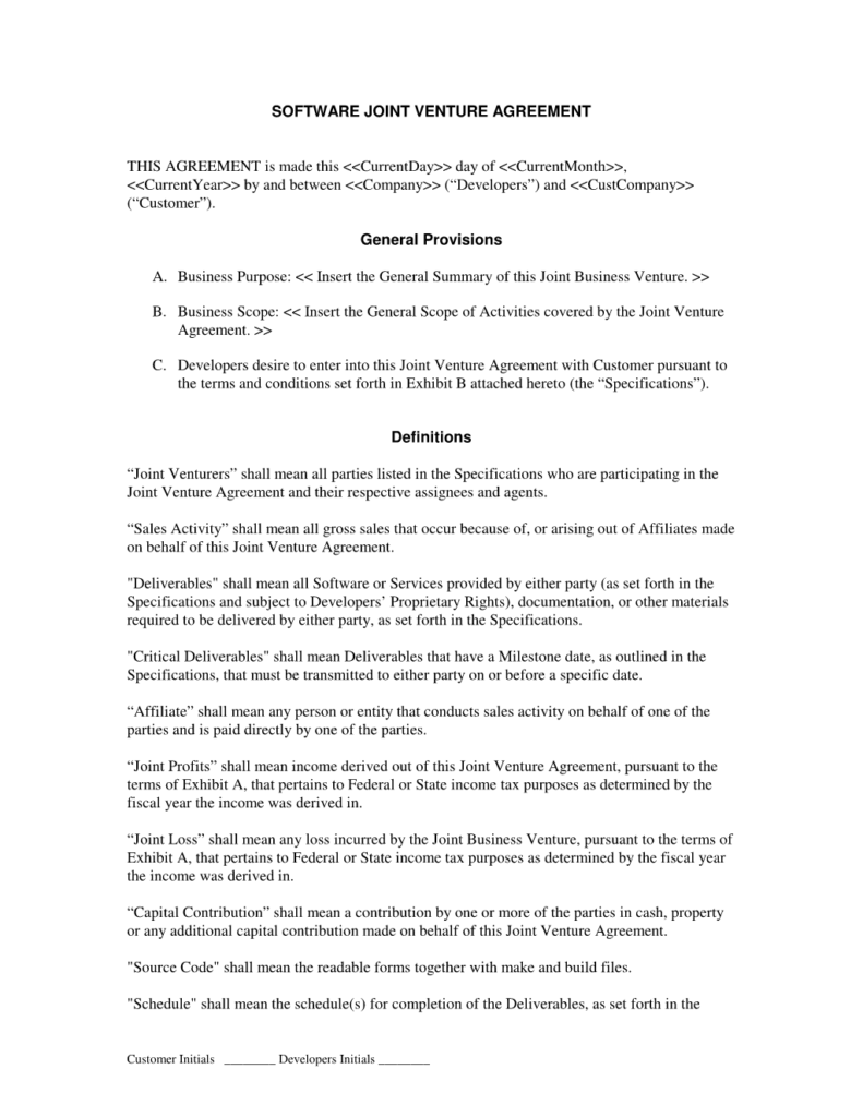 Joint Venture Agreement Doc human resource executive cover letter – Joint Venture Sample