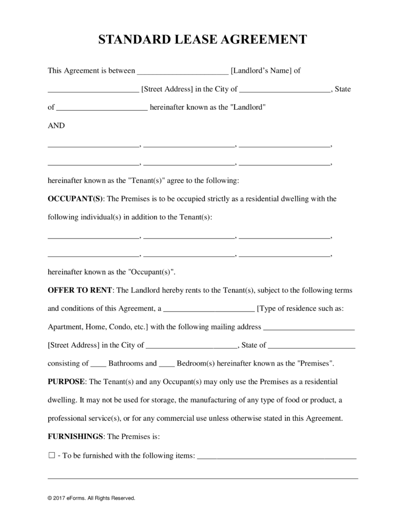 Apartment Lease Forms Samples And Templates