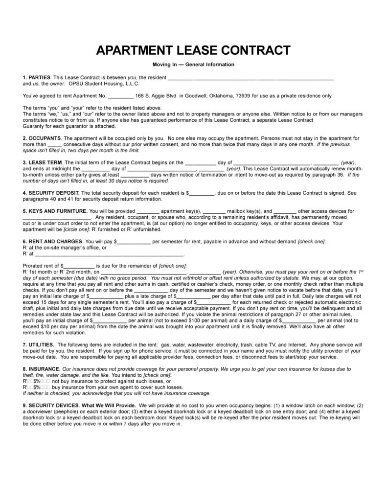 sample apartment lease
