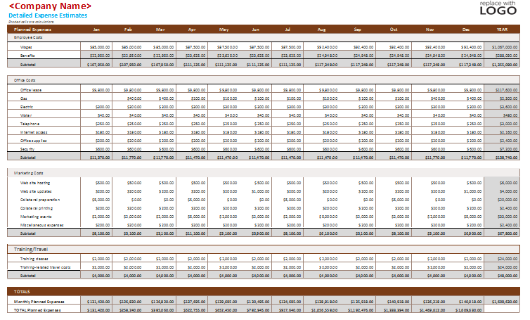 Detailed Business Budget Template