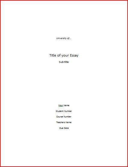 Essay Cover Sheet Templates | Samples And Templates