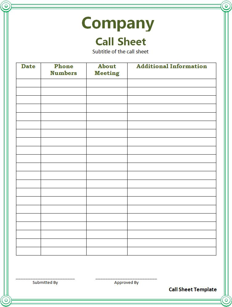 Sample Sheets:
