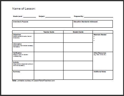 Pdflessonplanformatlessonplantemplates - Lesson plan templates pdf