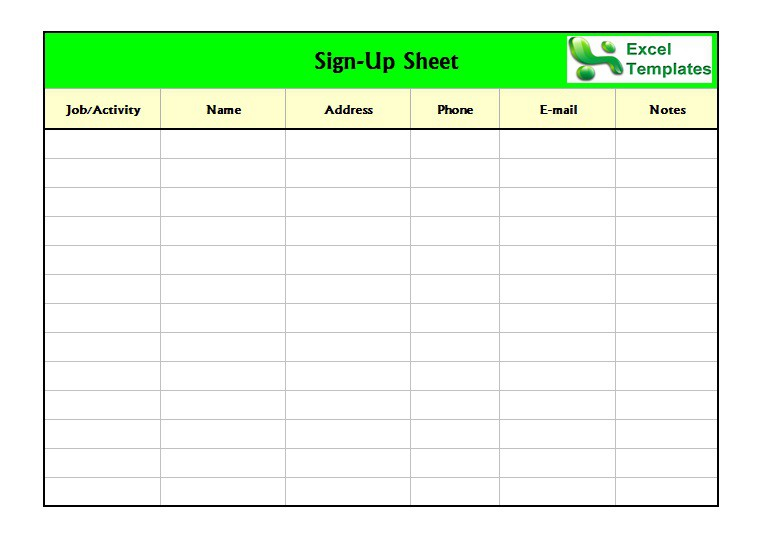 Sign Up Sheet Sample