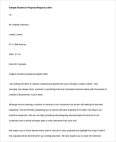 Business Proposal Request Letter In Word
