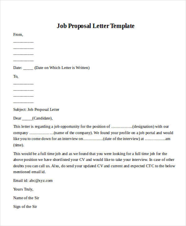 Job Proposal Sample Samplejobproposalletterformat Cover Letter For