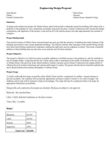 Printable Sample  EngineeringDesignProposal