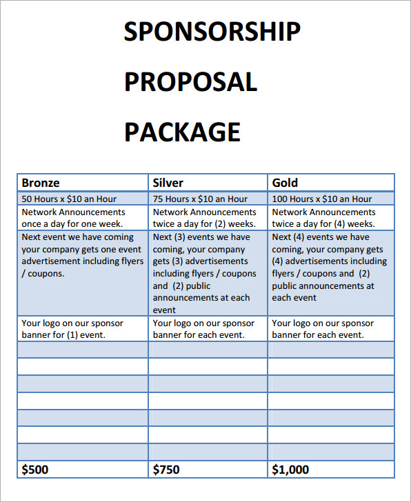 sponsorshipproposalpackage – Sponsorship Proposal Samples