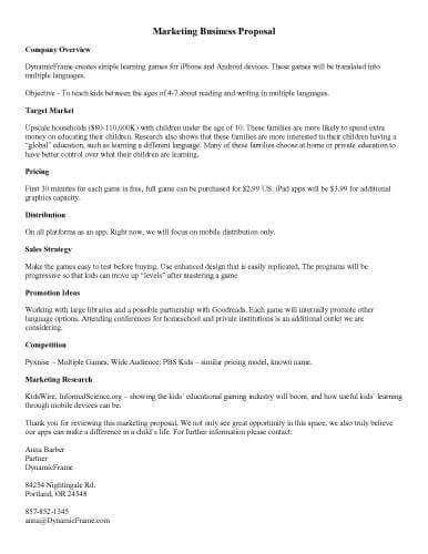 proposal for marketing services template - template printable sample marketing business proposal