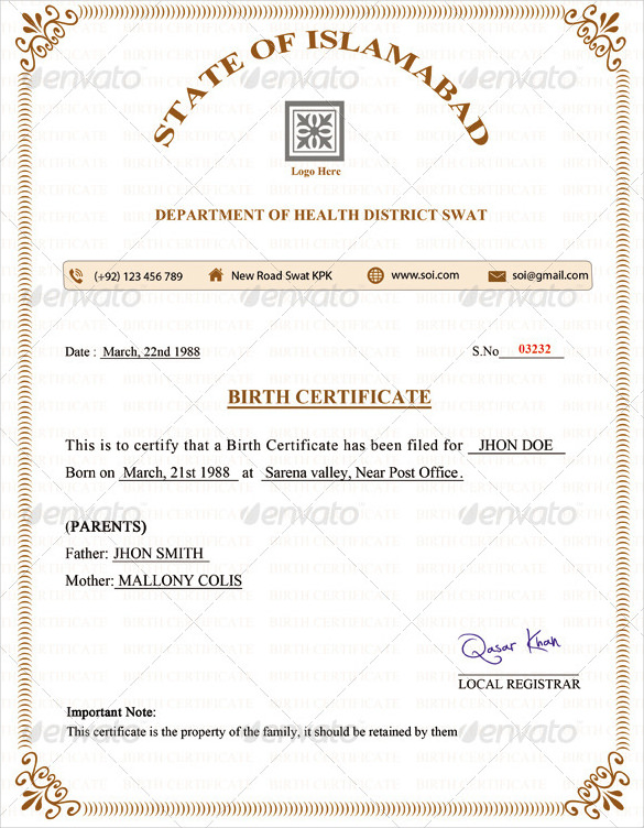 Birth Certificate Template Psd Free Printable Birth Certificate