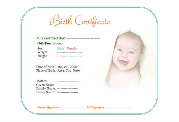 Cute Baby Birth Certificate Template Editable Free Printable Birth  Certificate Template Doc