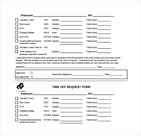 Request Off Form  Sample Request Forms   Latest Free