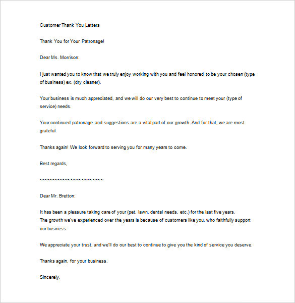 Sample Business Thank You Letter To Customer Example