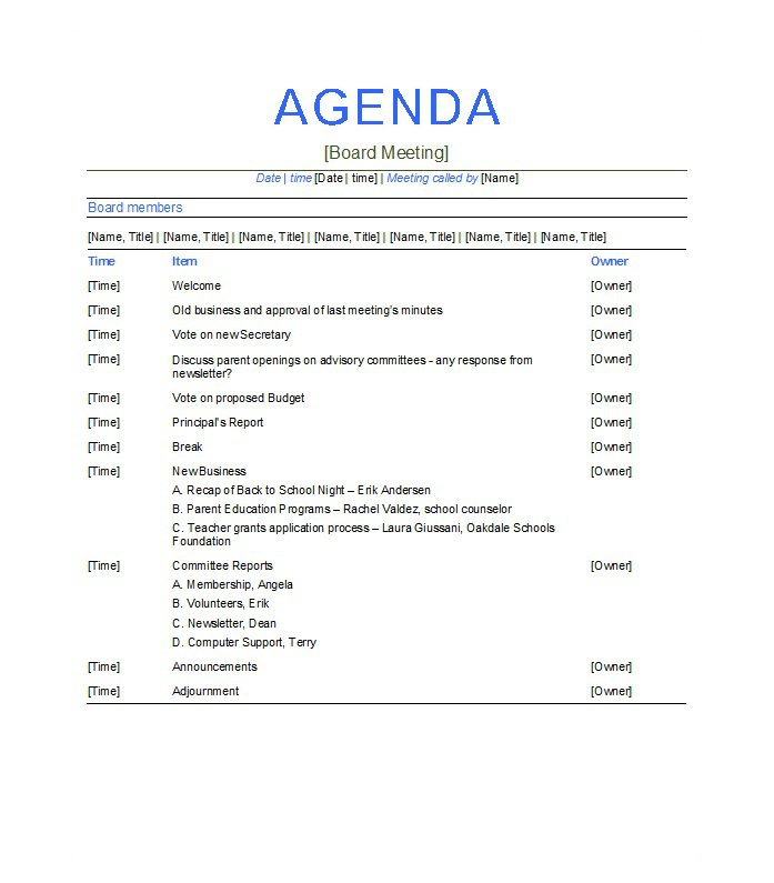 Marketing Meeting Agenda Template