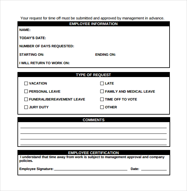 Printable doc employee time off request form for Request off calendar template