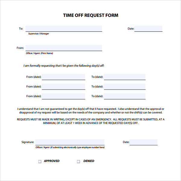 Printable Doc Free Download Time Off Request Form