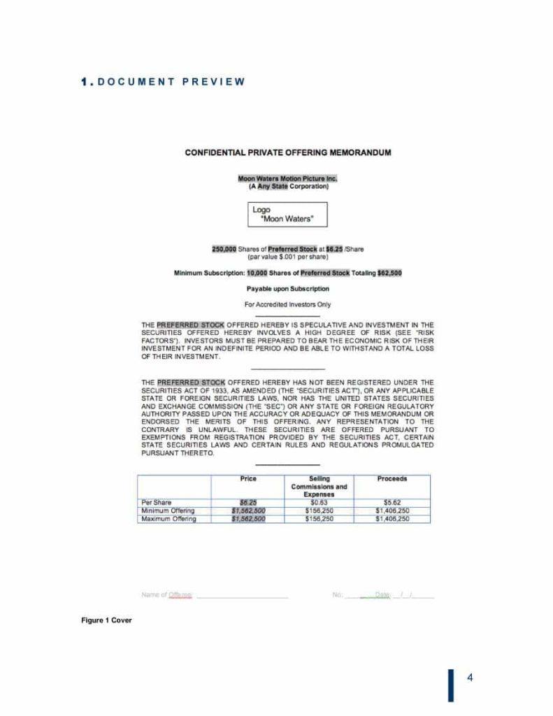 printable-free-private-placement-memorandum-template