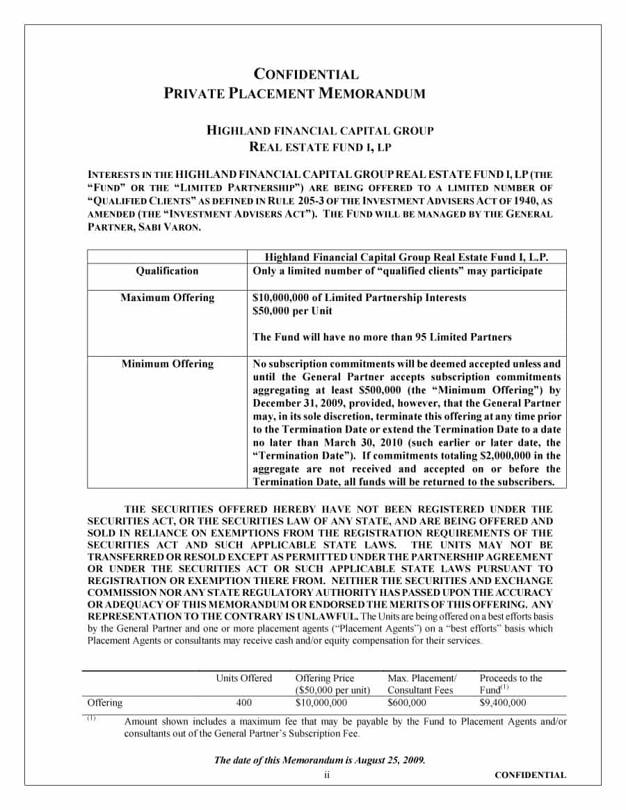 Printable Free Private Placement Memorandum Template 25