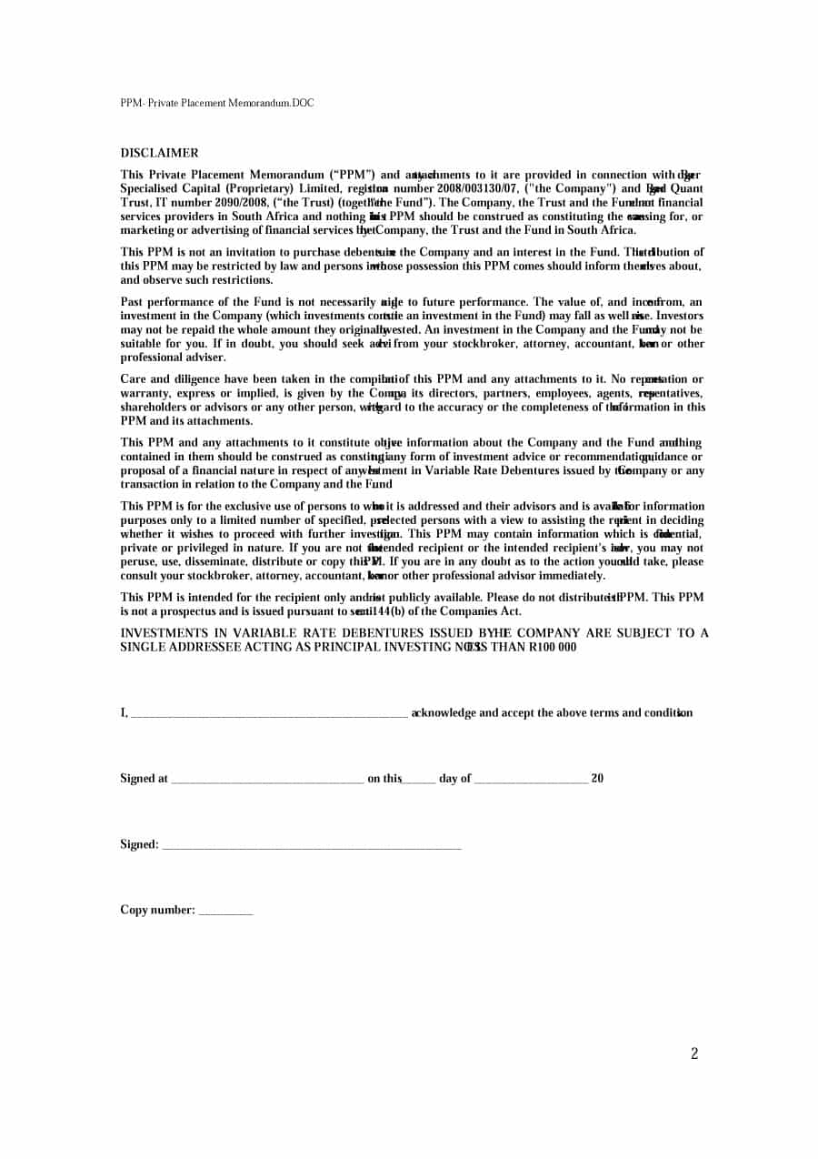 Printable Free Private Placement Memorandum Template 33