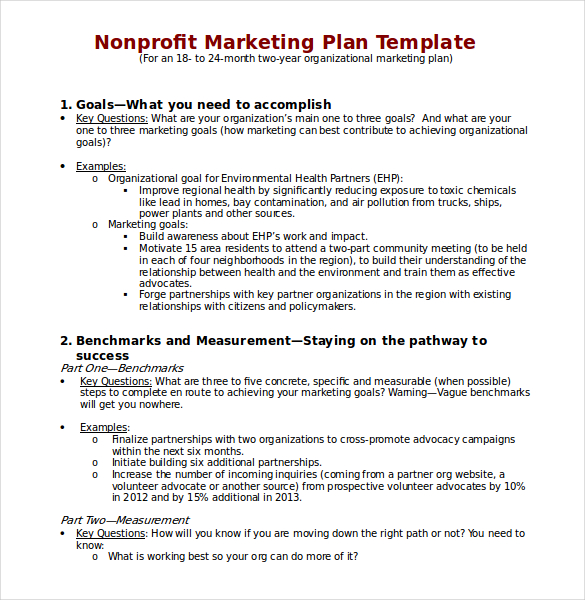 Non Profit Marketing Plan Template In Word Doc Printable