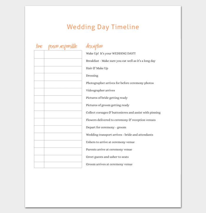 Wedding Planner Templates For 2019 Samples And Templates