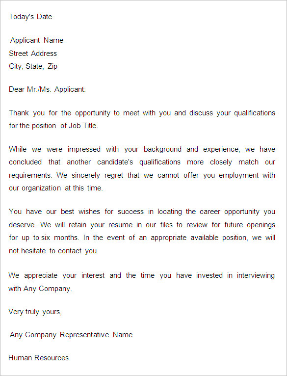 Applicant Rejection Letter Templates from www.samplesdownloadblog.com