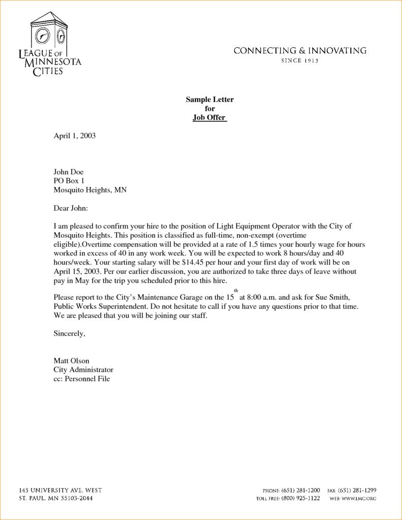 Sample Job fer Letters